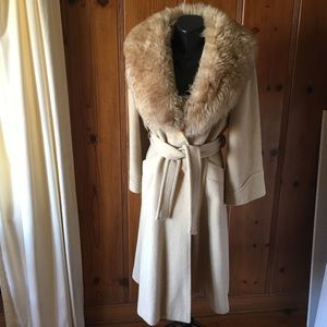 Vintage Shearling & Wool Camel Trench Coat M L